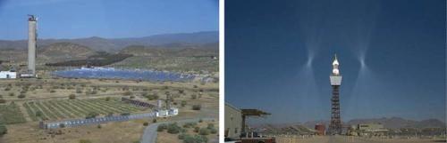 Impianti solari che usano la tecnologia a torre centrale: Plataforma Solar de Almeria, Spagna (a sx) and Solar Two, California