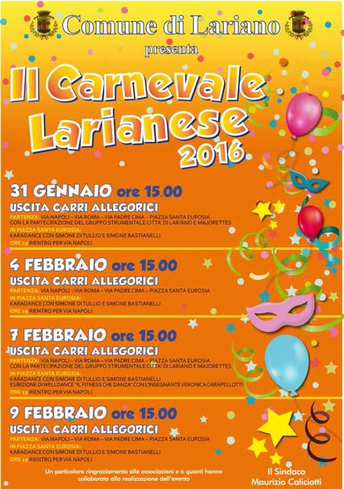 In arrivo il carnevale Larianese 2016