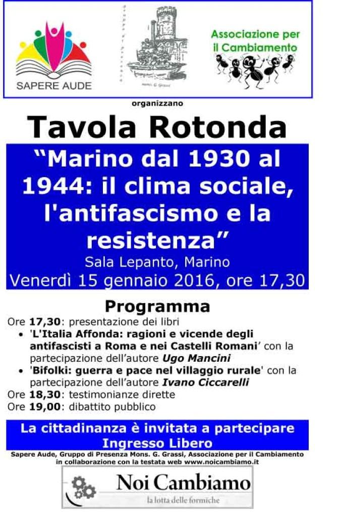 Marino, 15 gennaio, si parla di fascismo e resistenza