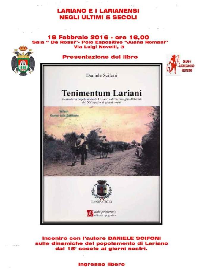 """Velletri – Presentazione libro """"Tenimentum Lariani"""""""