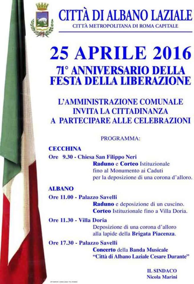 Albano, celebrazioni 25 Aprile – Festa della Liberazione