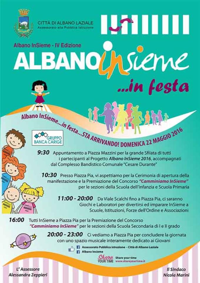 """Albano, domenica 22 maggio 2016 torna """"Albano InSieme …in Festa!"""""""