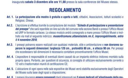 Albano – Mostra dei Presepi, bando di partecipazione