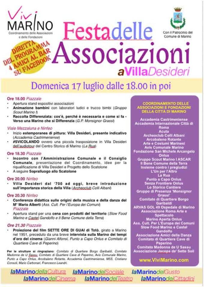 Marino: domenica 17 luglio a Villa Desideri ci sarà la I^ Festa delle Associazioni