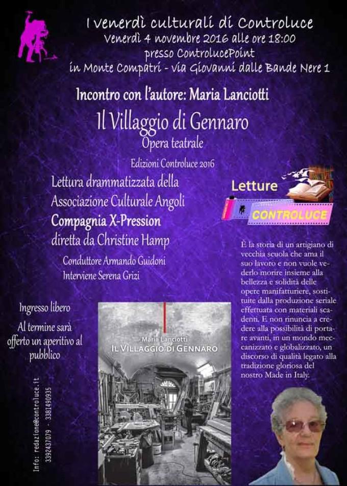 """Incontro con l'autore. Maria Lanciotti """"Il Villaggio di Gennaro"""""""