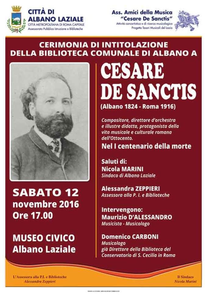 Albano, intitolazione della Biblioteca comunale a Cesare De Sanctis