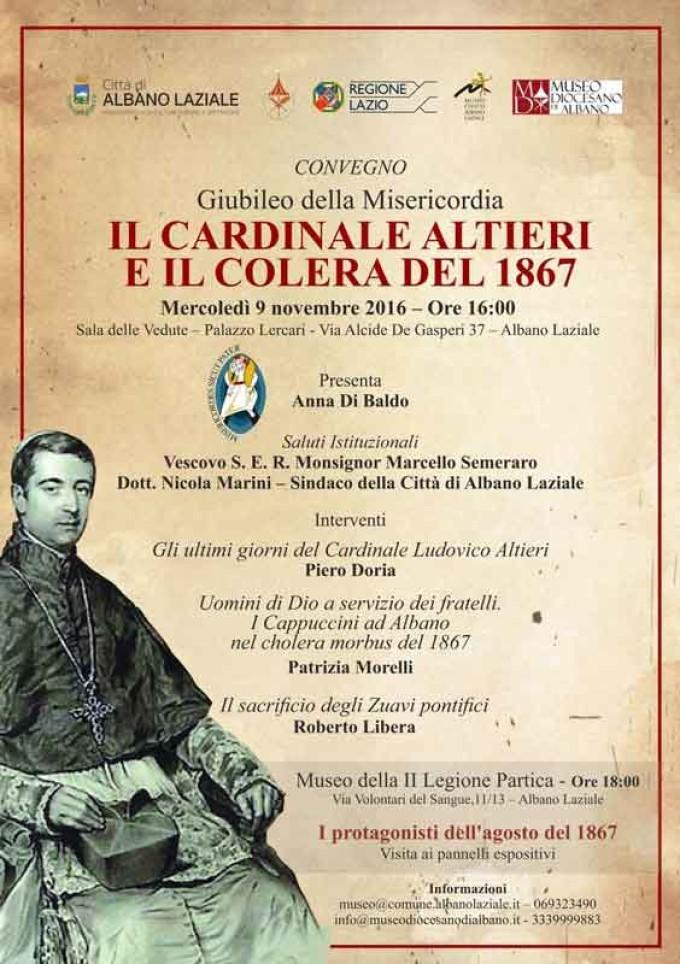 """Albano, mercoledì 9 novembre l'evento """"Il Cardinale Altieri e il colera del 1867"""""""