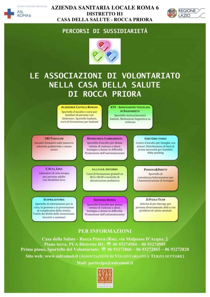 Locandina attività Associazioni di Volontariato presso Casa della Salute Rocca Priora