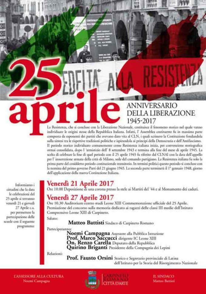 72° Anniversario della Liberazione 1945/2017
