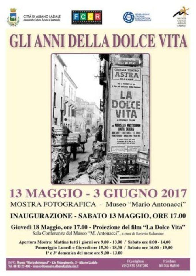 """Albano Laziale, il 13 maggio l'inaugurazione mostra """"Gli anni della dolce vita"""""""