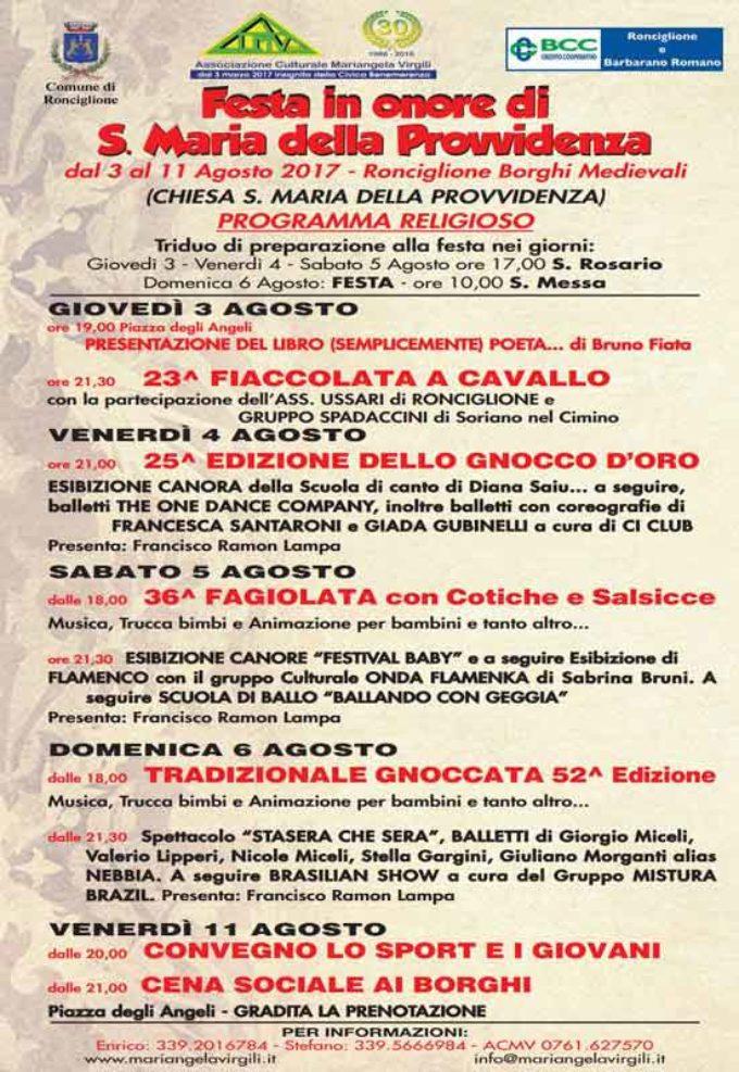 Cultura e tradizione per la festa di Santa Maria della Provvidenza a Ronciglione