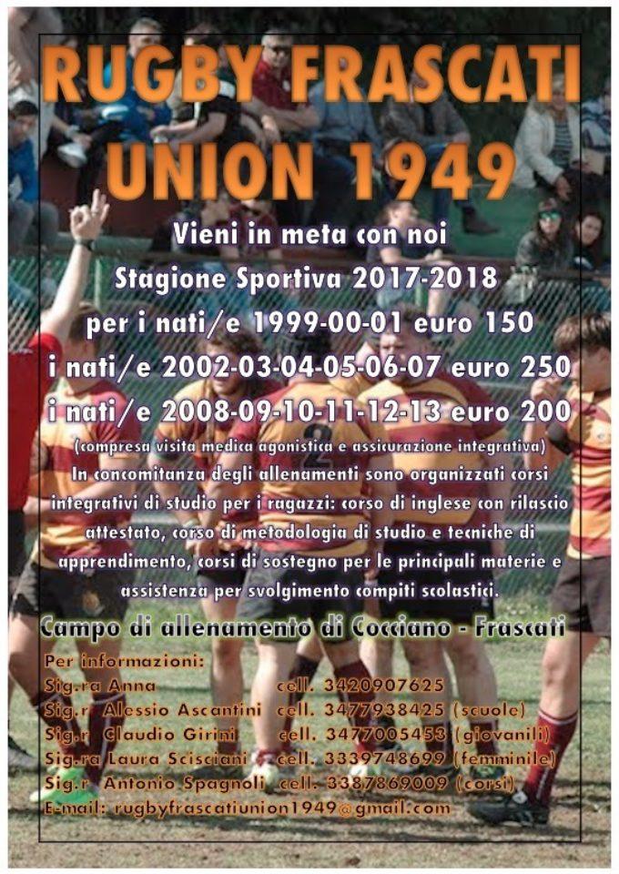 Rugby Frascati Union 1949, cresce il settore minirugby e spunta l'idea dei corsi di lingue