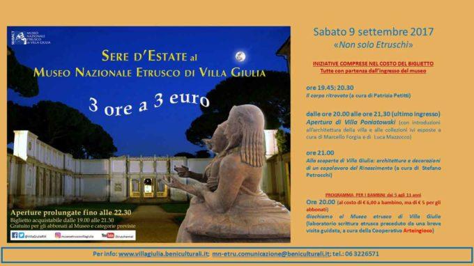 """Sere d'estate al Museo: 3 ore a 3 euro  Sabato 9 settembre  """"Non solo Etruschi"""""""