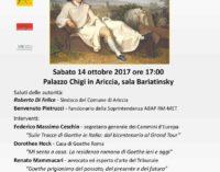 "Ariccia – ""Goethe e il Grand Tour tra Ariccia, Roma e i Castelli Romani"""