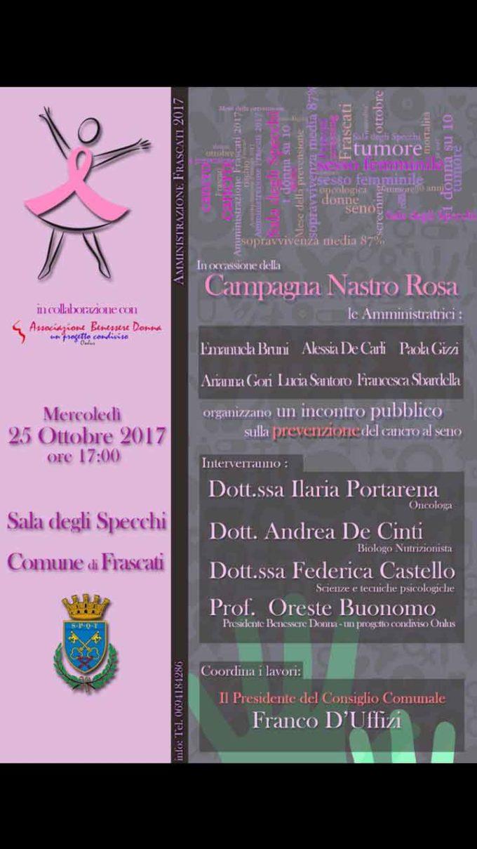 Frascati, un convegno sulla prevenzione del tumore al seno