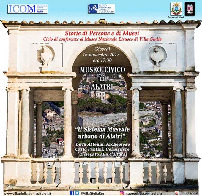 """Museo di Villa Giulia. """"Storie di persone e musei"""" – Conferenza del 16 novembre del Museo Civico di Alatri"""