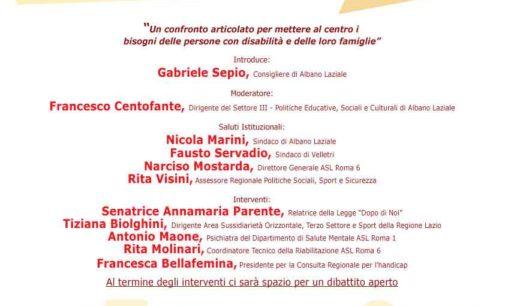 """Albano Laziale, Servizi Sociali: giovedì 16 novembre convegno sul """"Dopo di Noi"""""""