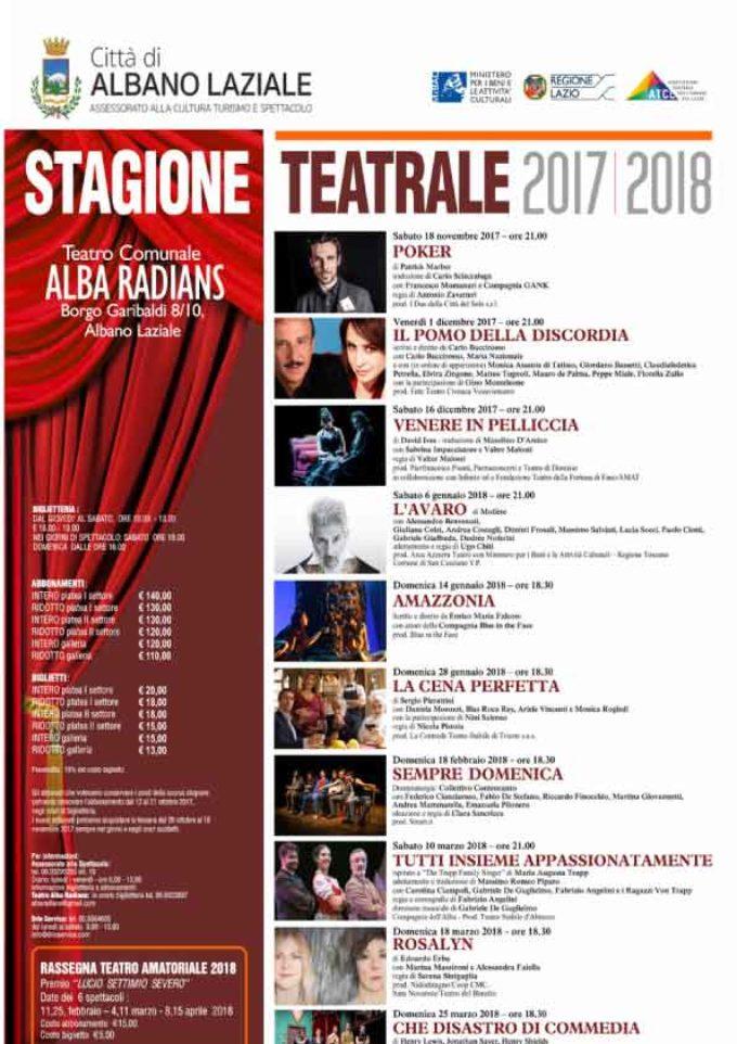 Albano Laziale, sabato 18 novembre inizia la Stagione Teatrale 2017 – 2018