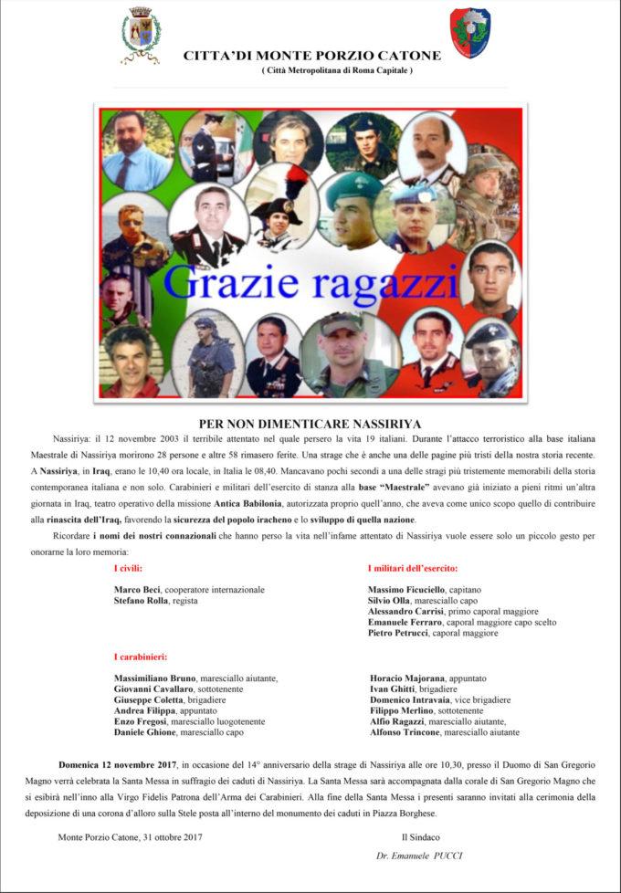 Monte Porzio Catone – Per non dimenticare  NASSIRIYA