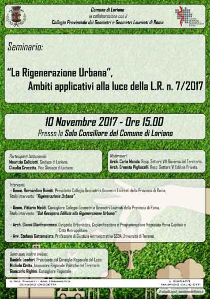 """Lariano – """"La Rigenerazione Urbana, ambiti applicativi alla luce della legge regionale n 7/2017"""""""