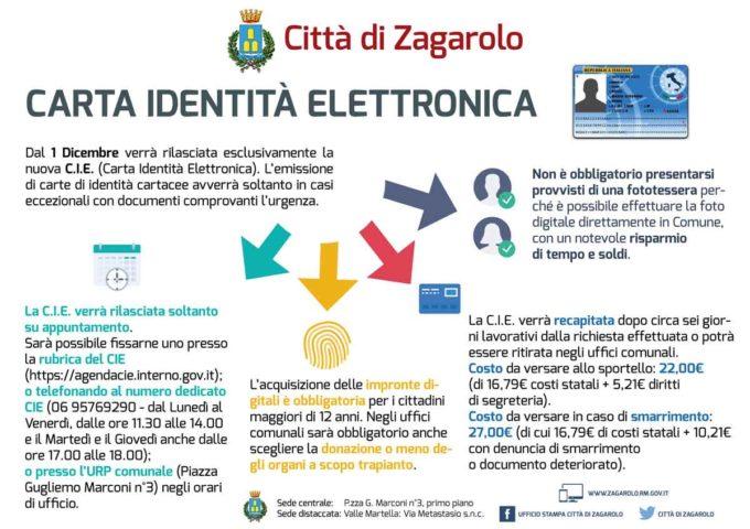 Al via a Zagarolo la carta di identità elettronica