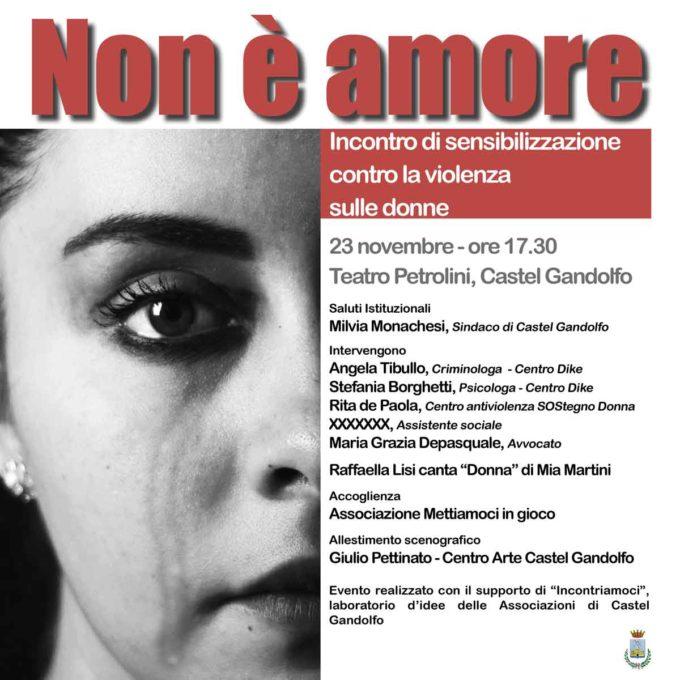 """""""Non è amore"""" A Castel Gandolfo un incontro di sensibilizzazione contro la violenza sulle donne"""