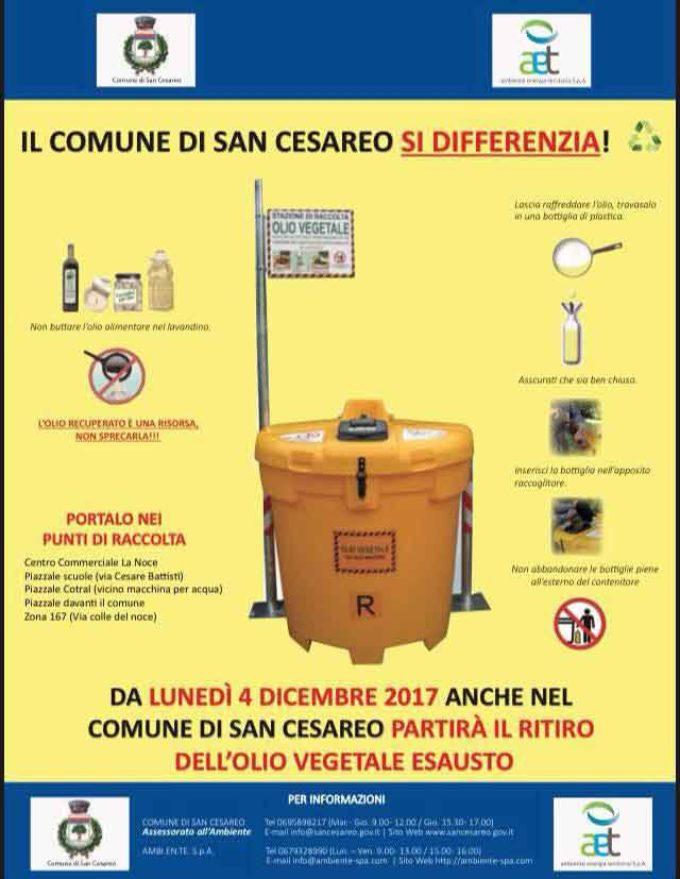 San Cesareo – Smaltimento olio vegetale esausto