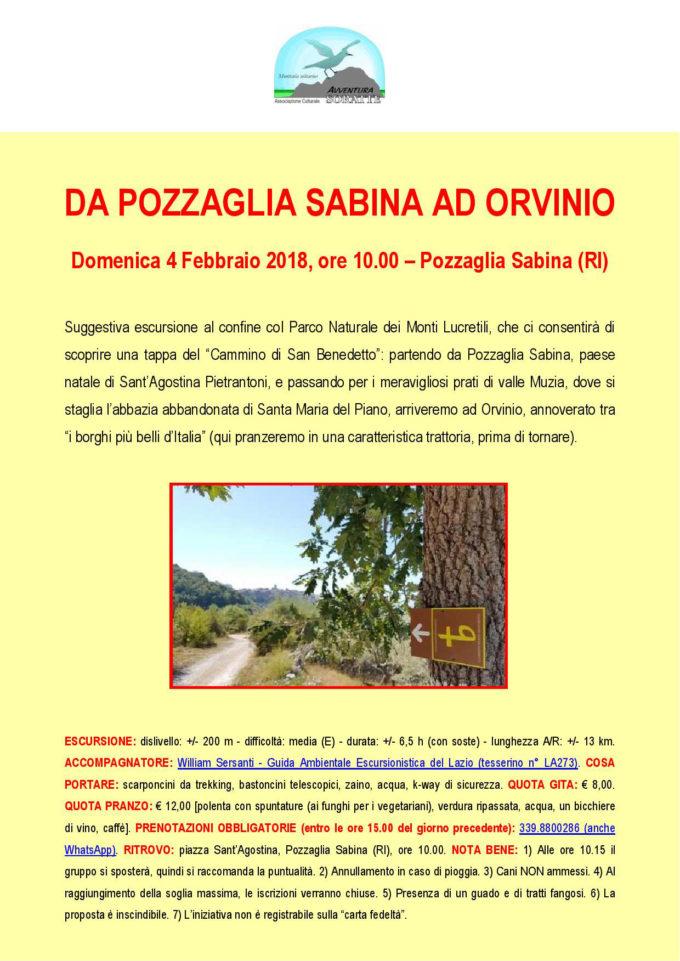 Da Pozzaglia Sabina ad Orvinio   ALLA SCOPERTA DEL CAMMINO DI SAN BENEDETTO