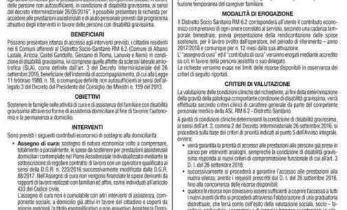 Albano Laziale, Servizi Sociali: avviso pubblico per interventi in favore di persone con disabilità gravissima