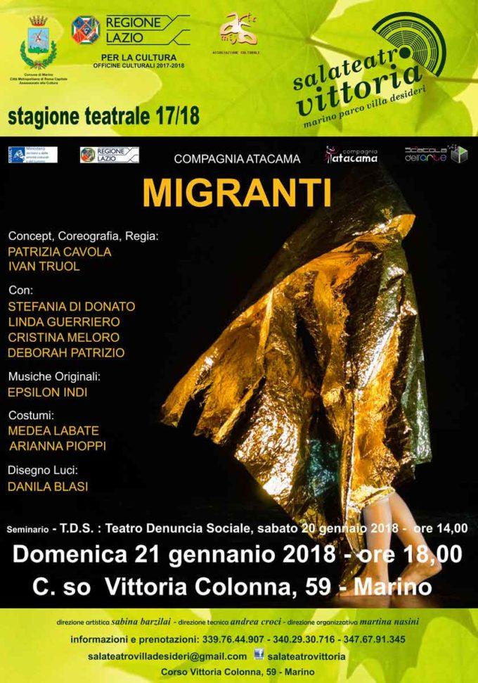 Sala Teatro Vittoria a Marino seminario gratuito  in vista dello spettacolo MIGRANTI