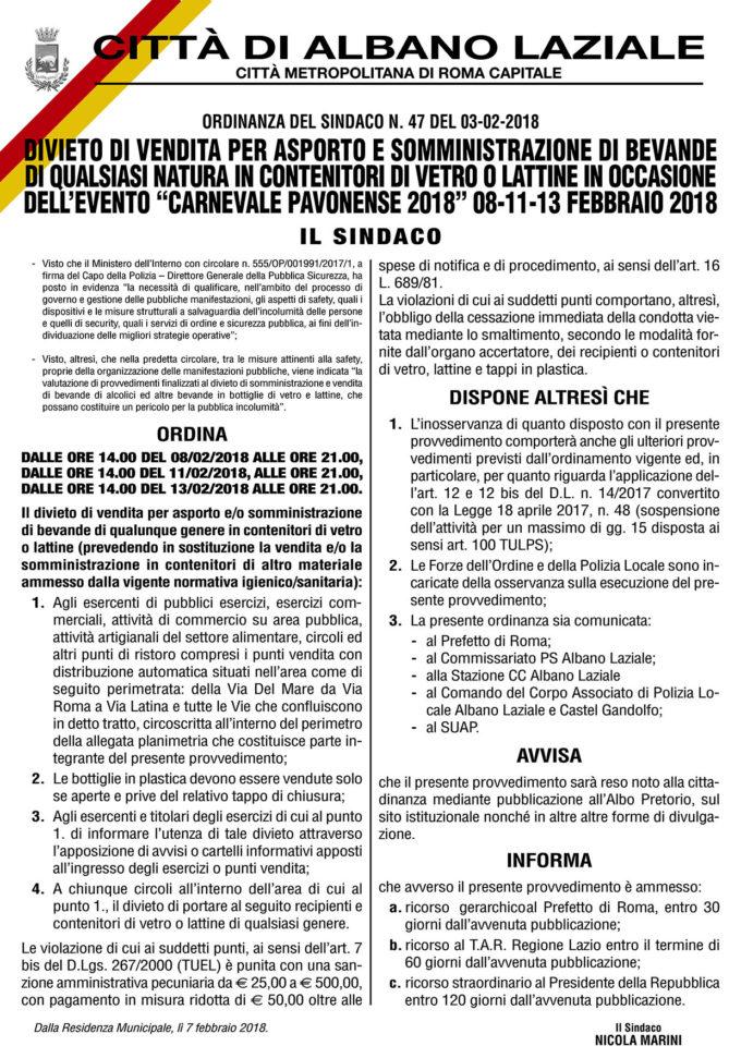 Albano Laziale, Carnevale 2018: prescrizioni di safety e security
