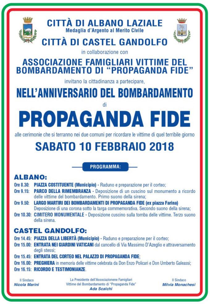 Albano Laziale e Castel Gandolfo si stringono a ricordo delle vittime di Propaganda Fide