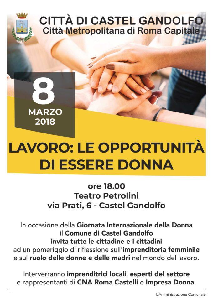 8 marzo: a Castel Gandolfo una tavola rotonda su donne e lavoro
