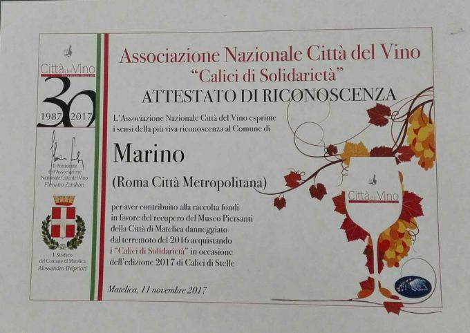 """Attestato di riconoscenza al comune di Marino per """"calici di solidarieta' 2017"""""""