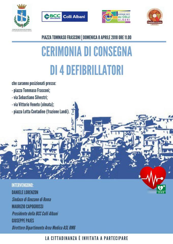 CERIMONIA DI CONSEGNA DI 4 DEFIBRILLATORI ALLA COMUNITÀ GENZANESE