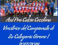 Albano Laziale: Pro Calcio Cecchina promosso in 1^ Categoria, le congratulazioni di Marini e Santoro