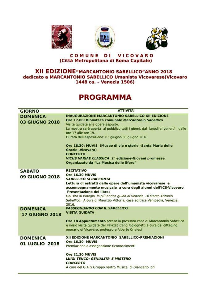Vicovaro – Premio Sabellico 2018-Edizione  XII