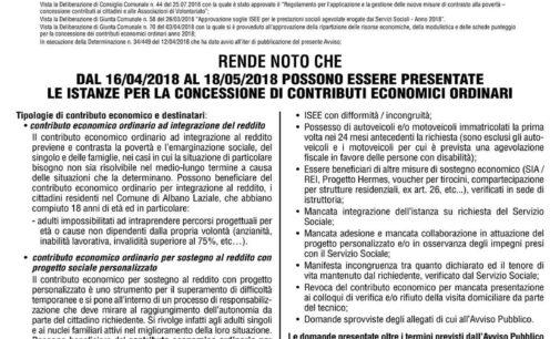 Albano Laziale, Politiche Sociali: concessione di contributi economici