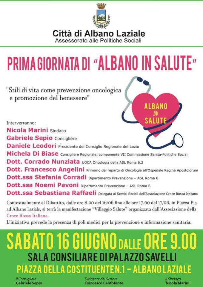 """Albano Laziale, Politiche Sociali: 16 giugno a Palazzo Savelli la prima di """"Albano In Salute"""""""