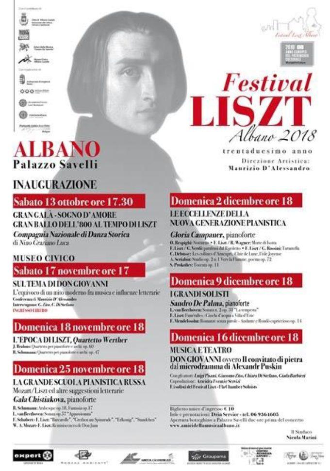 Albano Laziale, 13 ottobre si apre il Festival Liszt 2018