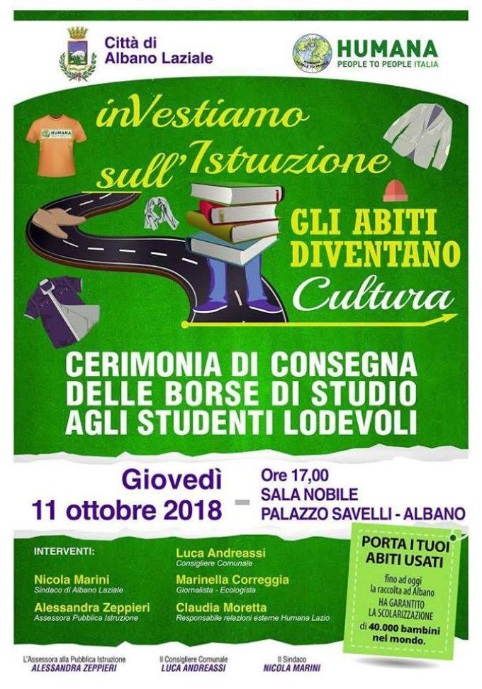 Albano Laziale, 11 ottobre consegna delle borse di studio HUMANA