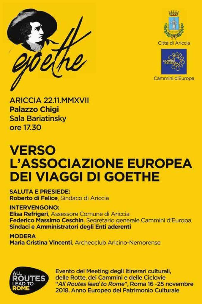 """Ariccia –  """"Verso l'Associazione Europea dei Viaggi di Goethe"""""""