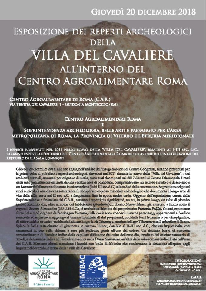 Guidonia Montecelio  – Esposizione dei reperti archeologici della  Villa del Cavaliere