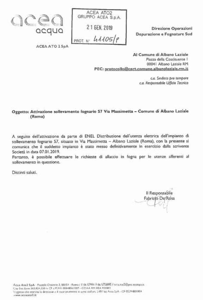 Albano Laziale, attivo l'impianto di sollevamento della fognatura a servizio di Via Pantanelle e limitrofe