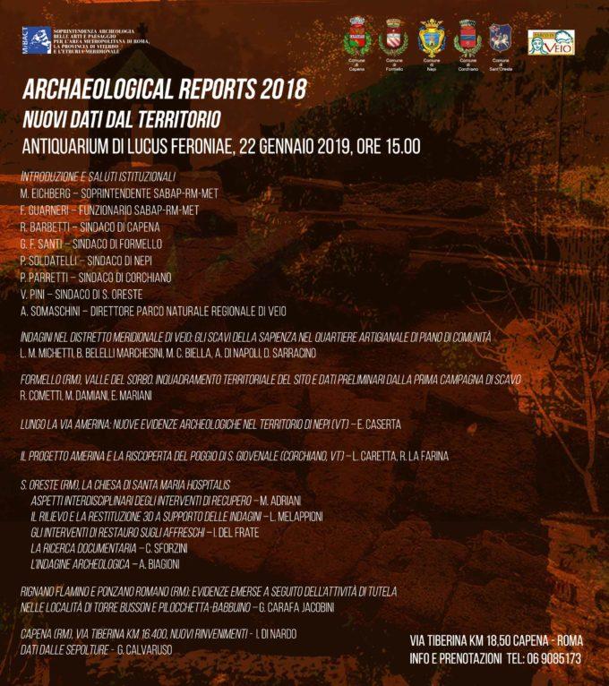INCONTRO DI STUDI  Archaeological Reports 2018 – Nuovi dati dal territorio