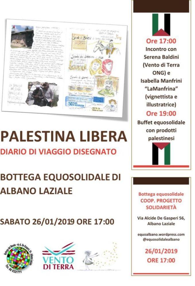 """Albano Laziale: """"Palestina libera – Diario di viaggio disegnato"""""""