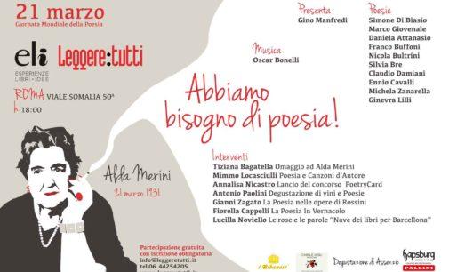 Il 21 marzo a Roma Festa della poesia in omaggio ad Alda Merini con poesie, musiche…