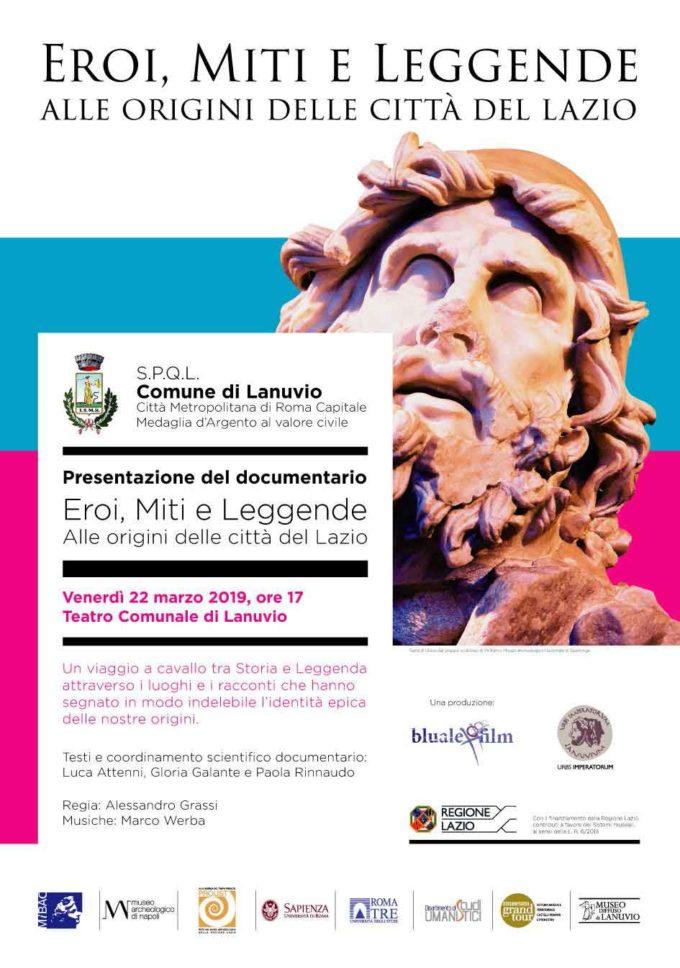 """Lanuvio –  Presentazione del documentario """"Eroi, miti e leggende – alle origini delle città del Lazio"""""""