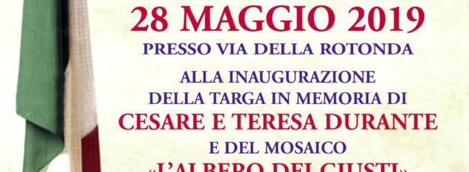 Albano Laziale, targa e mosaico in memoria di Cesare e Teresa Durante