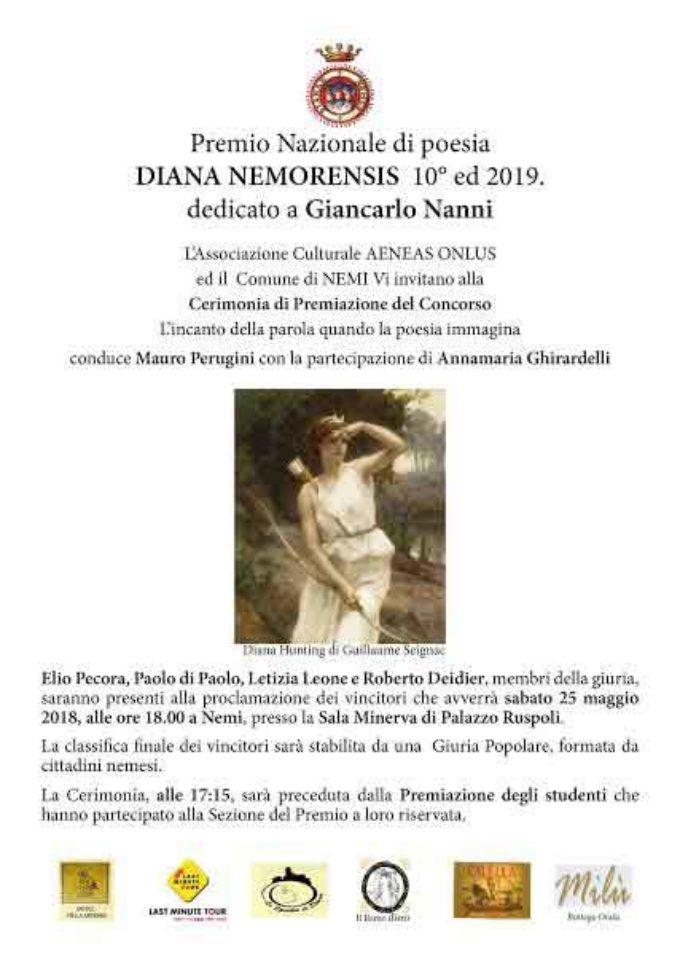 """A Nemi il Premio Nazionale di Poesia """"Diana Nemorensis"""" 2019 – X edizione."""